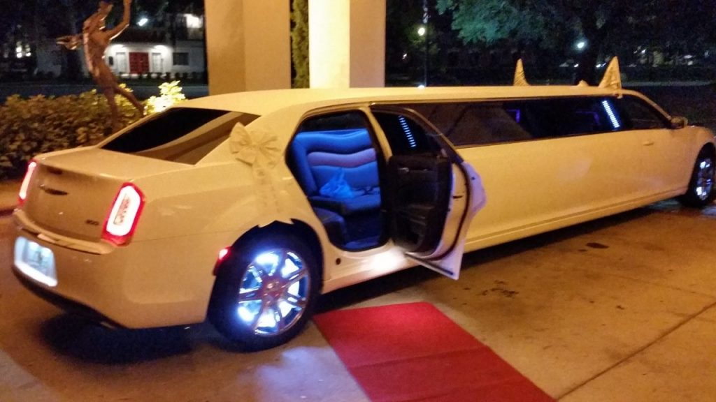 White Chrysler 300 Limo Door Open to View Interior